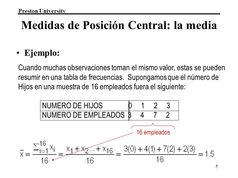 Medidas de Posición Central: la media
