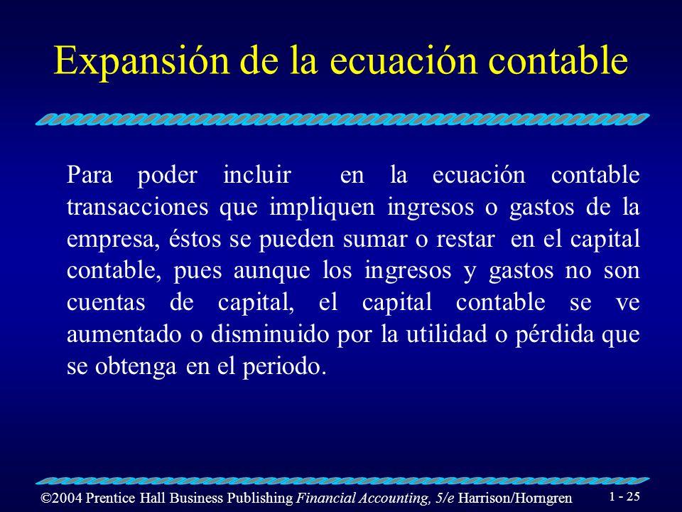 Expansión de la ecuación contable