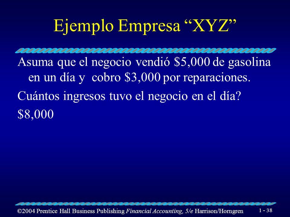 Ejemplo Empresa XYZ Asuma que el negocio vendió $5,000 de gasolina en un día y cobro $3,000 por reparaciones.