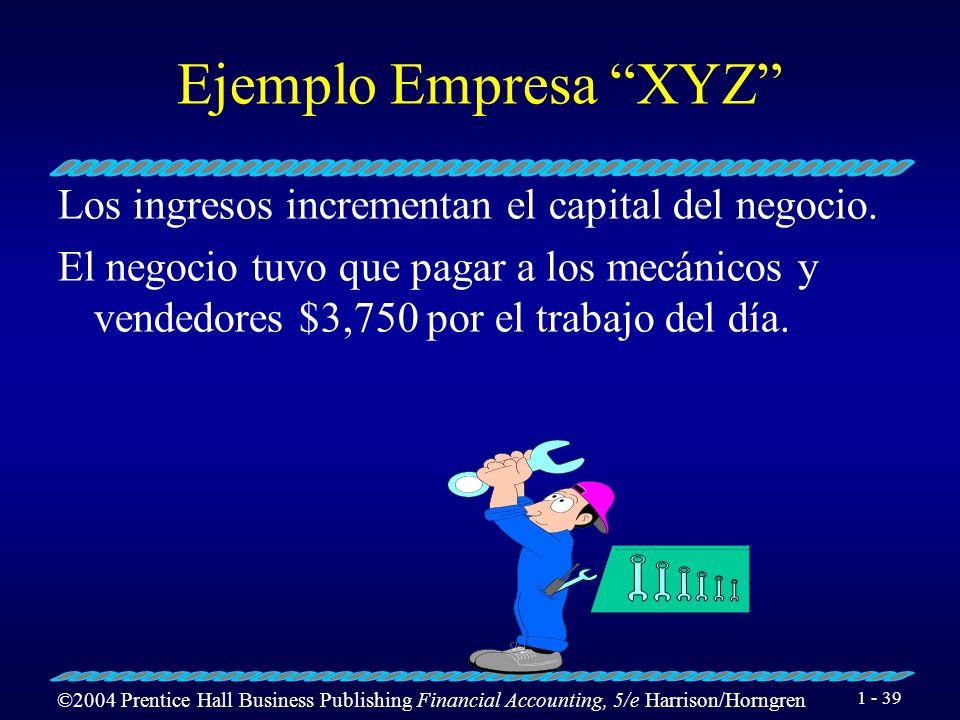Ejemplo Empresa XYZ Los ingresos incrementan el capital del negocio.