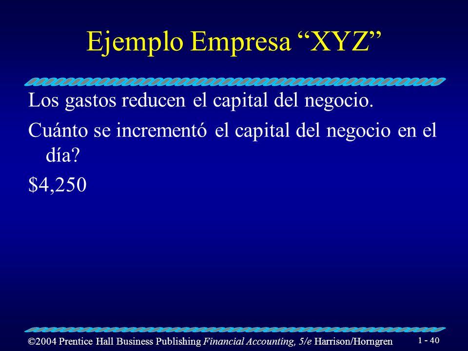 Ejemplo Empresa XYZ Los gastos reducen el capital del negocio.