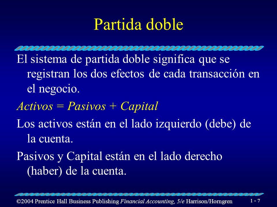 Partida doble El sistema de partida doble significa que se registran los dos efectos de cada transacción en el negocio.