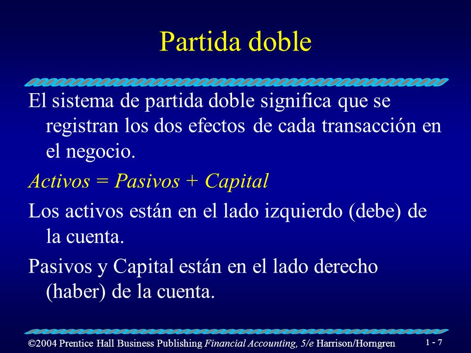 Partida dobleEl sistema de partida doble significa que se registran los dos efectos de cada transacción en el negocio.