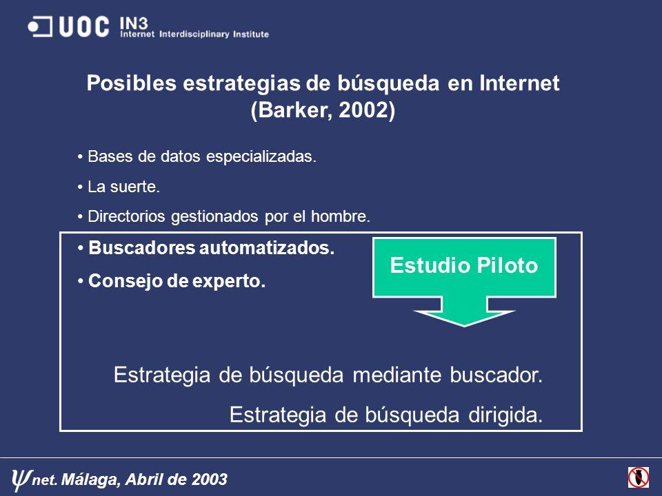 Posibles estrategias de búsqueda en Internet (Barker, 2002)