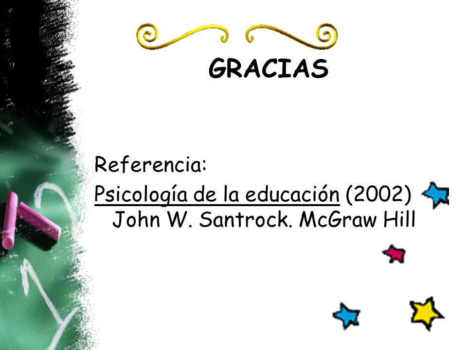 GRACIAS Referencia: Psicología de la educación (2002) John W. Santrock. McGraw Hill