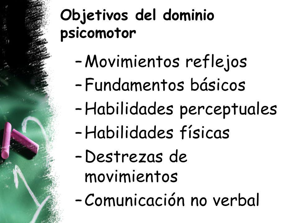 Objetivos del dominio psicomotor