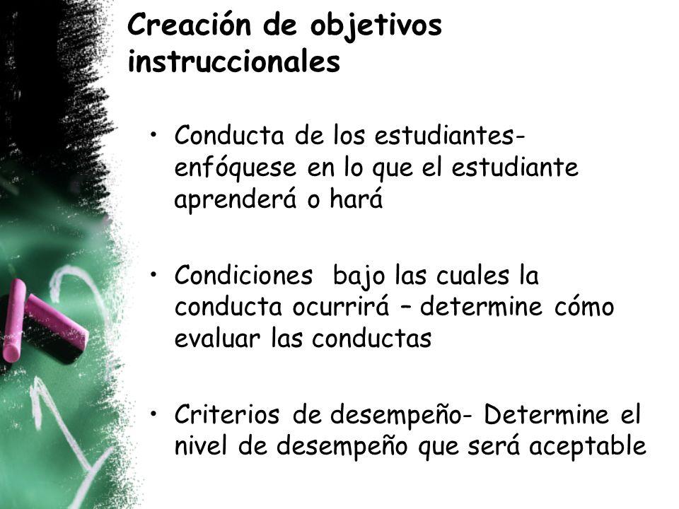Creación de objetivos instruccionales