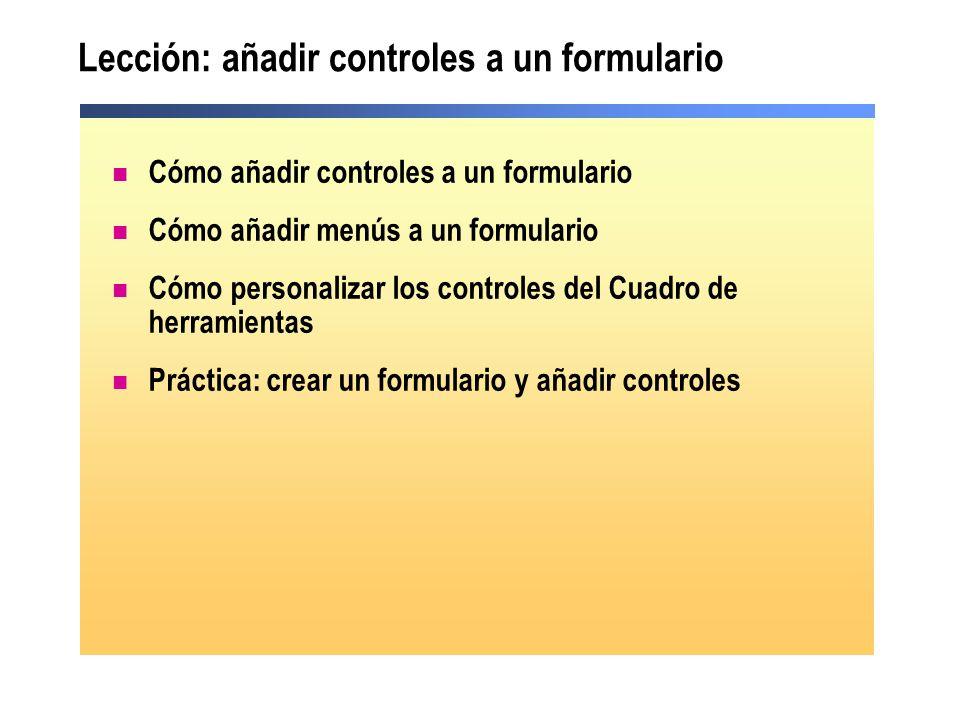 Lección: añadir controles a un formulario