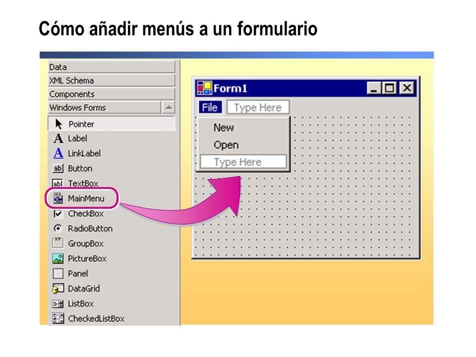 Cómo añadir menús a un formulario