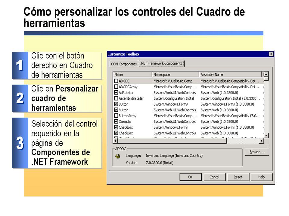 Cómo personalizar los controles del Cuadro de herramientas
