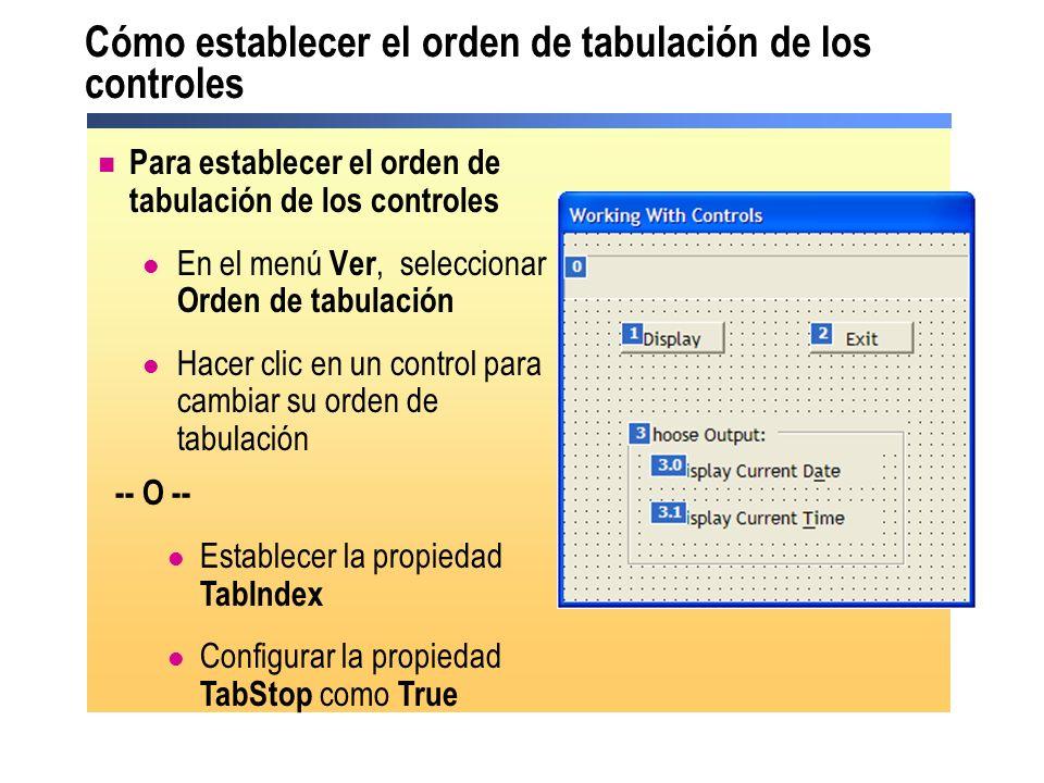 Cómo establecer el orden de tabulación de los controles