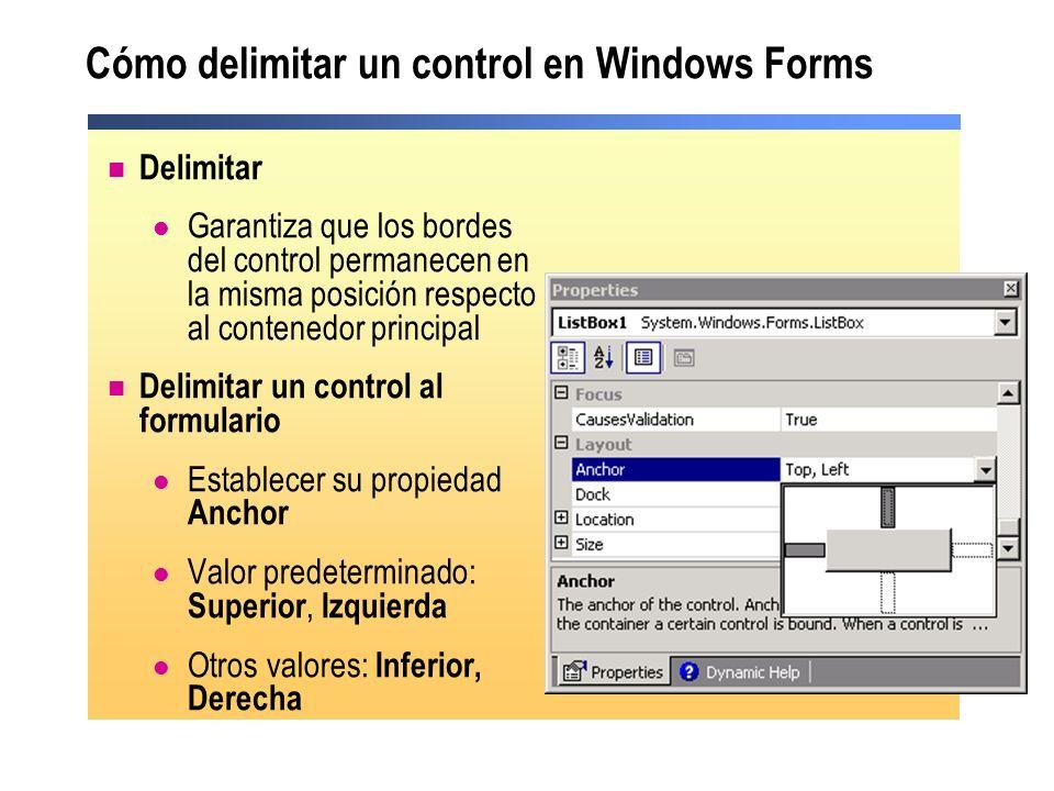 Cómo delimitar un control en Windows Forms