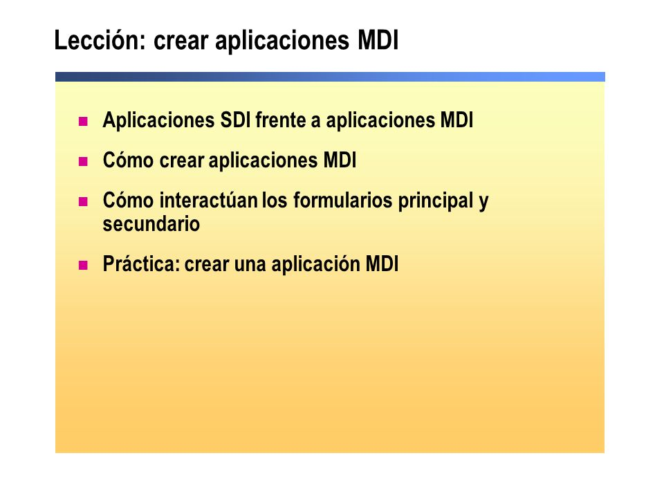 Lección: crear aplicaciones MDI