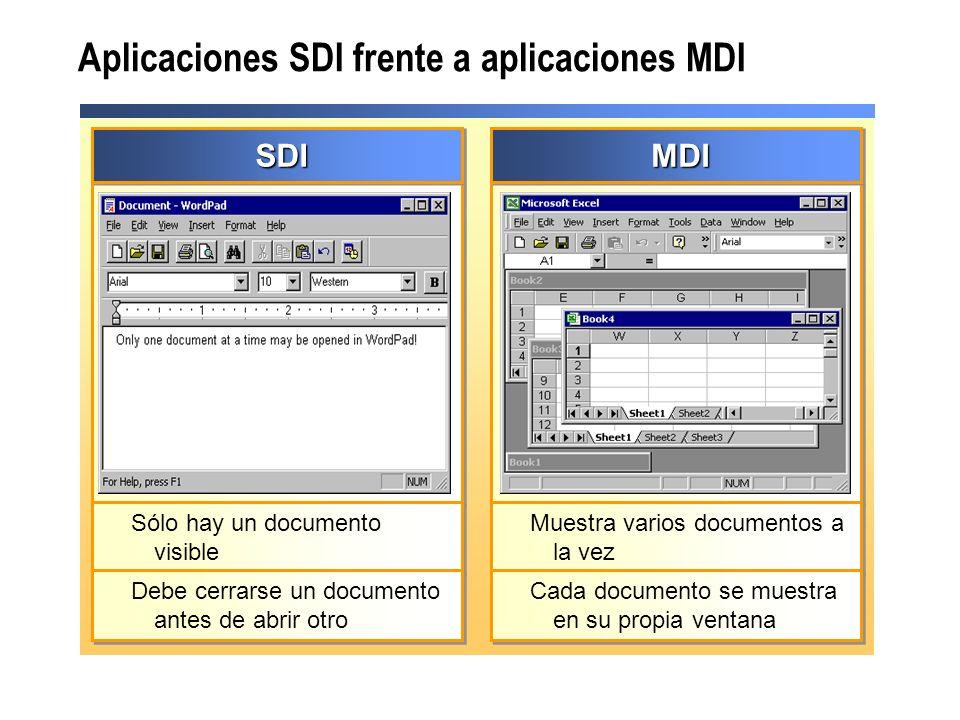 Aplicaciones SDI frente a aplicaciones MDI