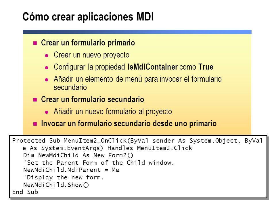 Cómo crear aplicaciones MDI