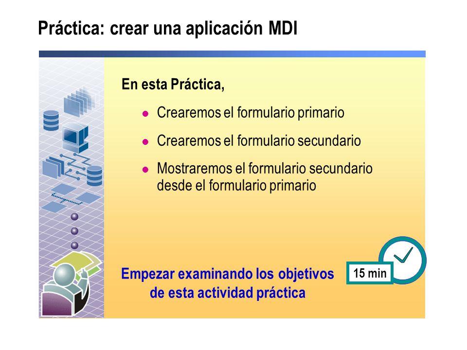 Práctica: crear una aplicación MDI