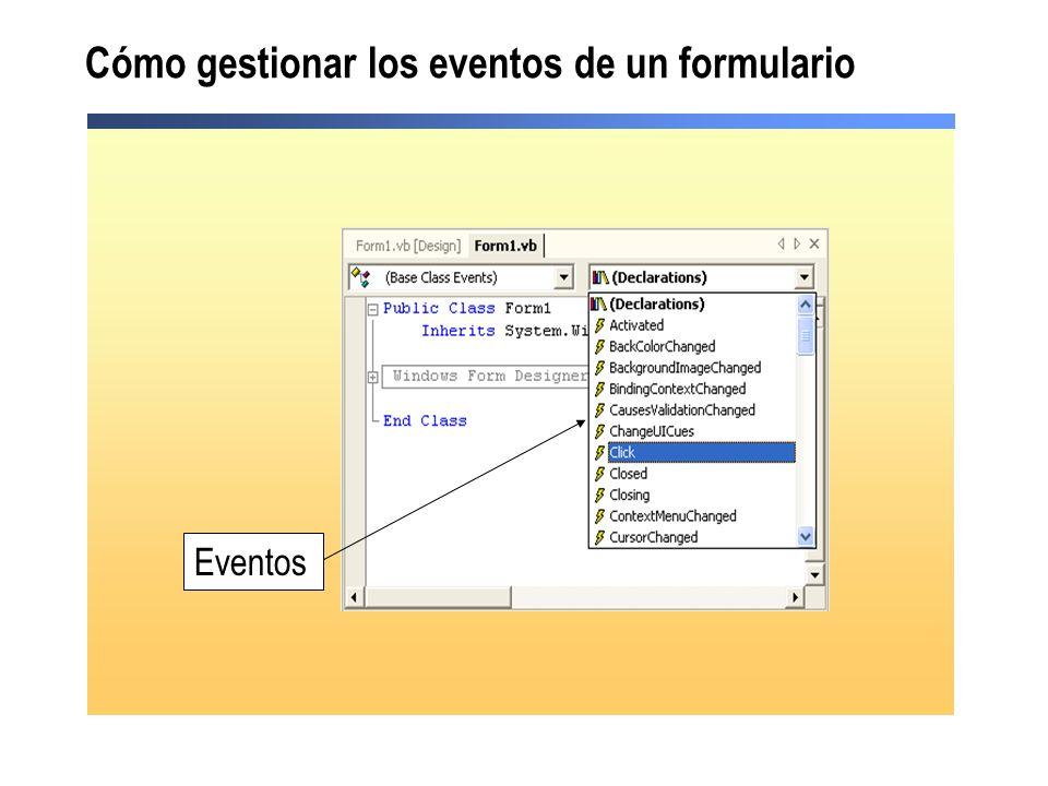 Cómo gestionar los eventos de un formulario
