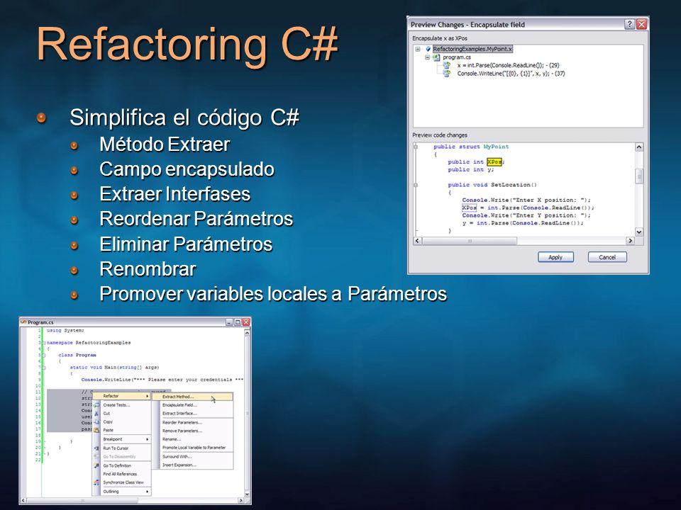 Refactoring C# Simplifica el código C# Método Extraer