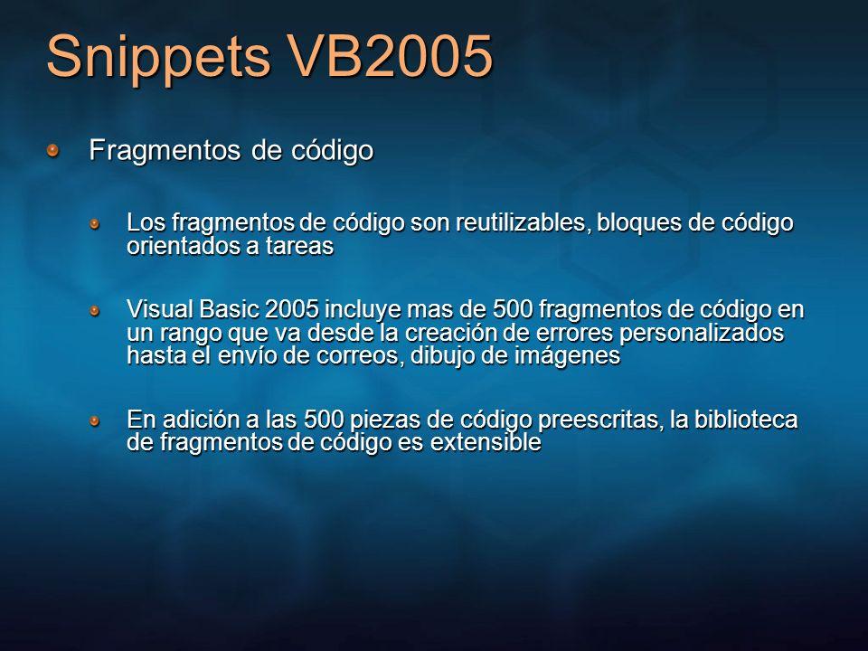 Snippets VB2005 Fragmentos de código