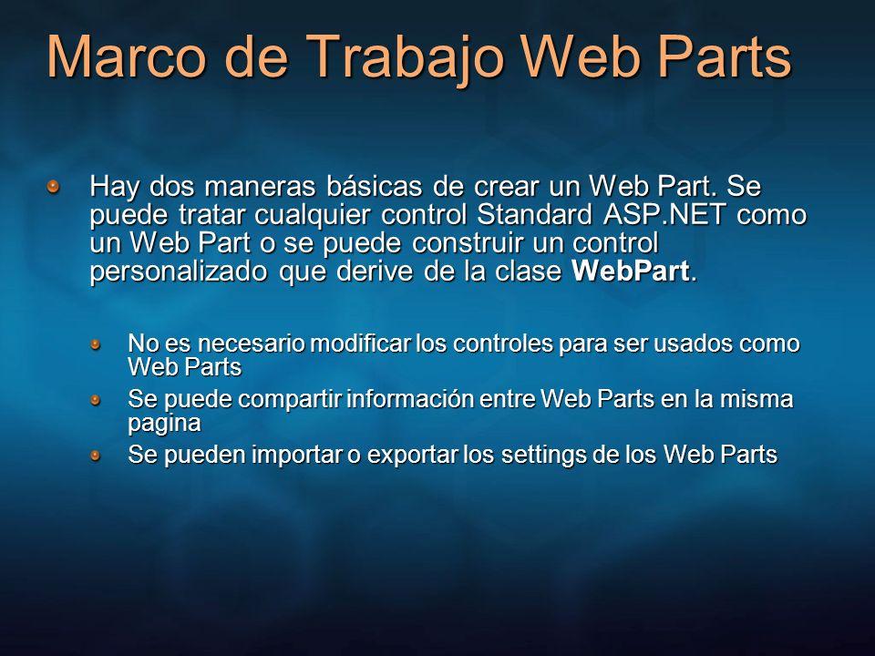 Marco de Trabajo Web Parts