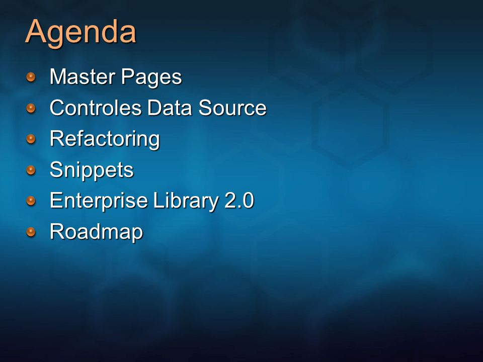 Agenda Master Pages Controles Data Source Refactoring Snippets