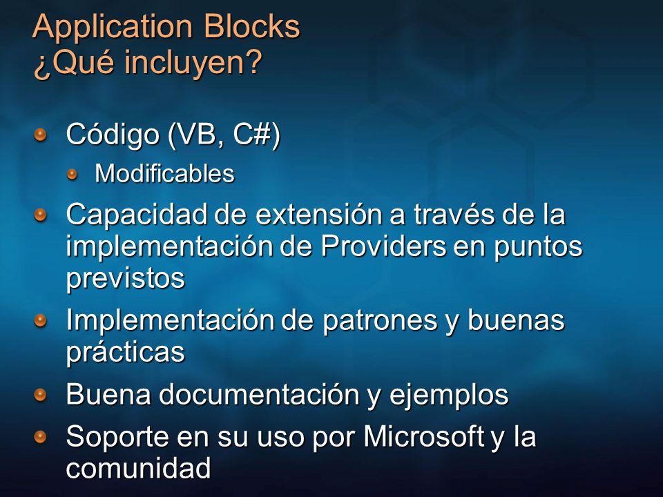 Application Blocks ¿Qué incluyen