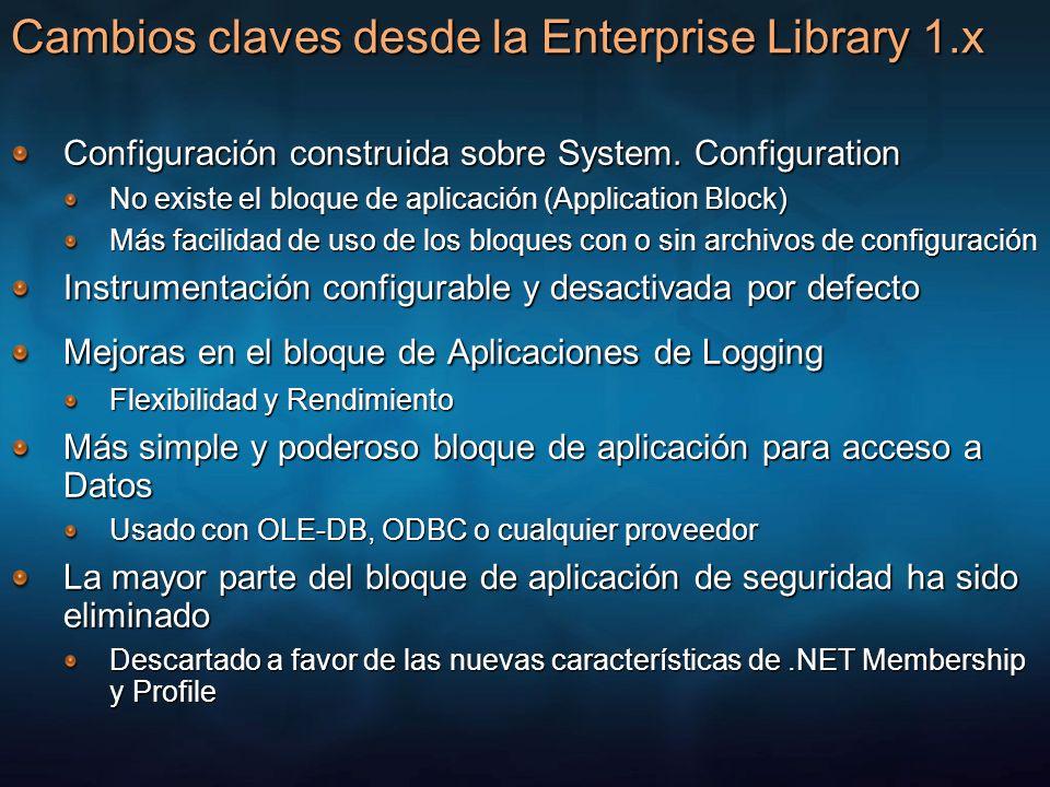 Cambios claves desde la Enterprise Library 1.x