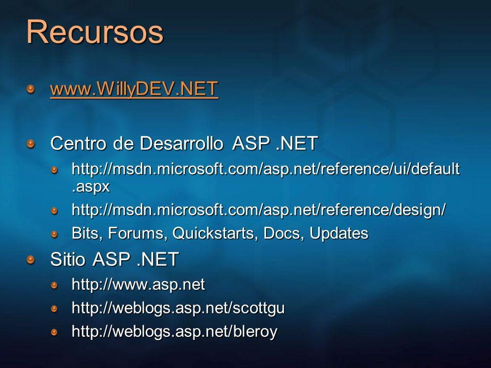 Recursos www.WillyDEV.NET Centro de Desarrollo ASP .NET Sitio ASP .NET