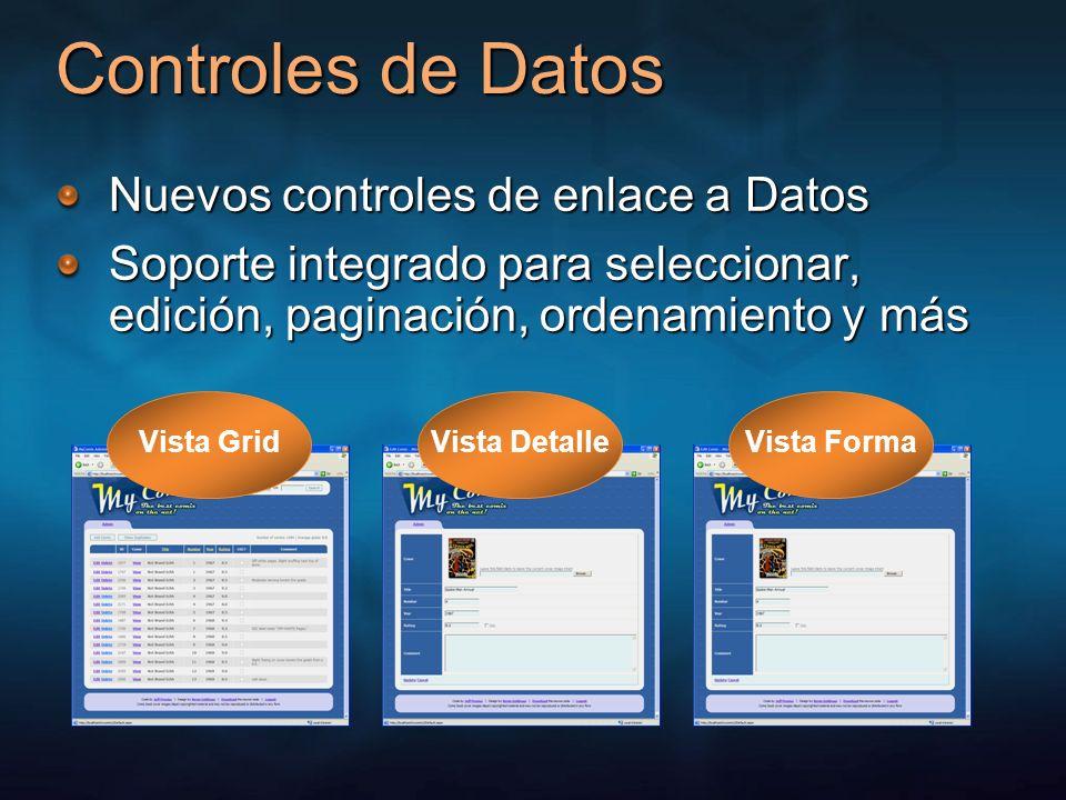 Controles de Datos Nuevos controles de enlace a Datos