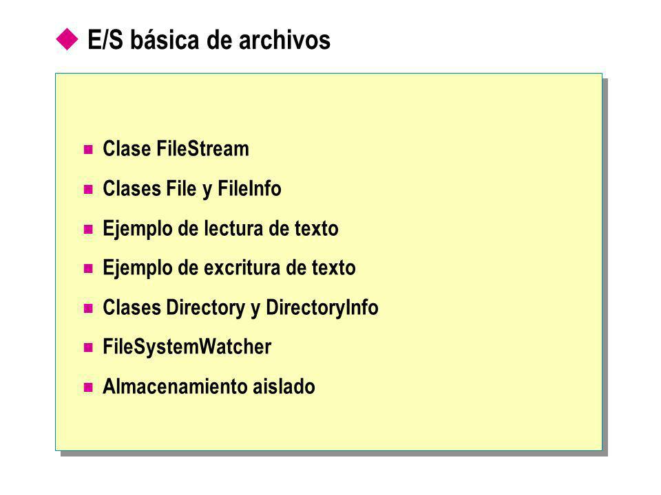 E/S básica de archivos Clase FileStream Clases File y FileInfo