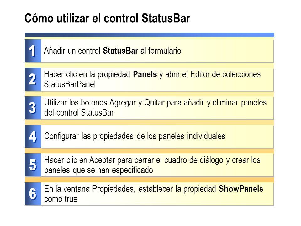 Cómo utilizar el control StatusBar