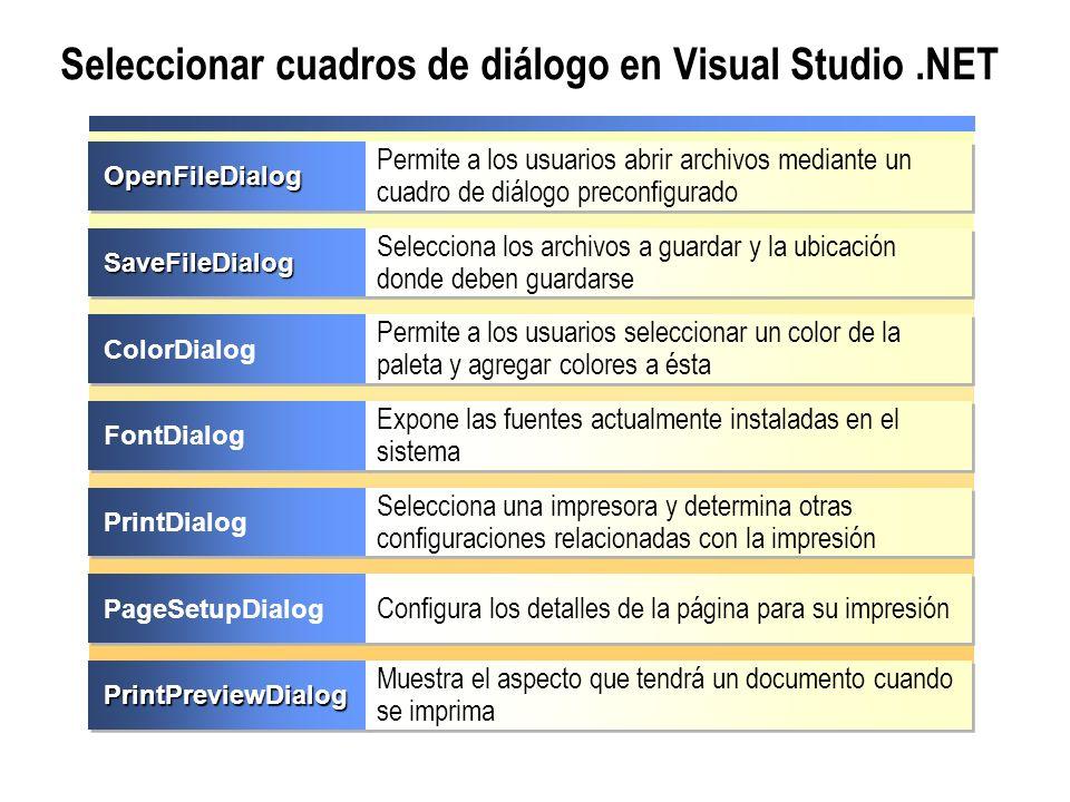 Seleccionar cuadros de diálogo en Visual Studio .NET