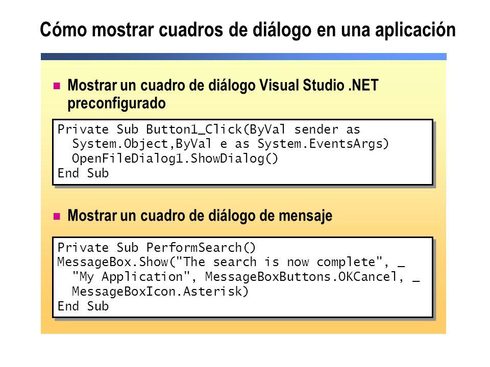 Cómo mostrar cuadros de diálogo en una aplicación