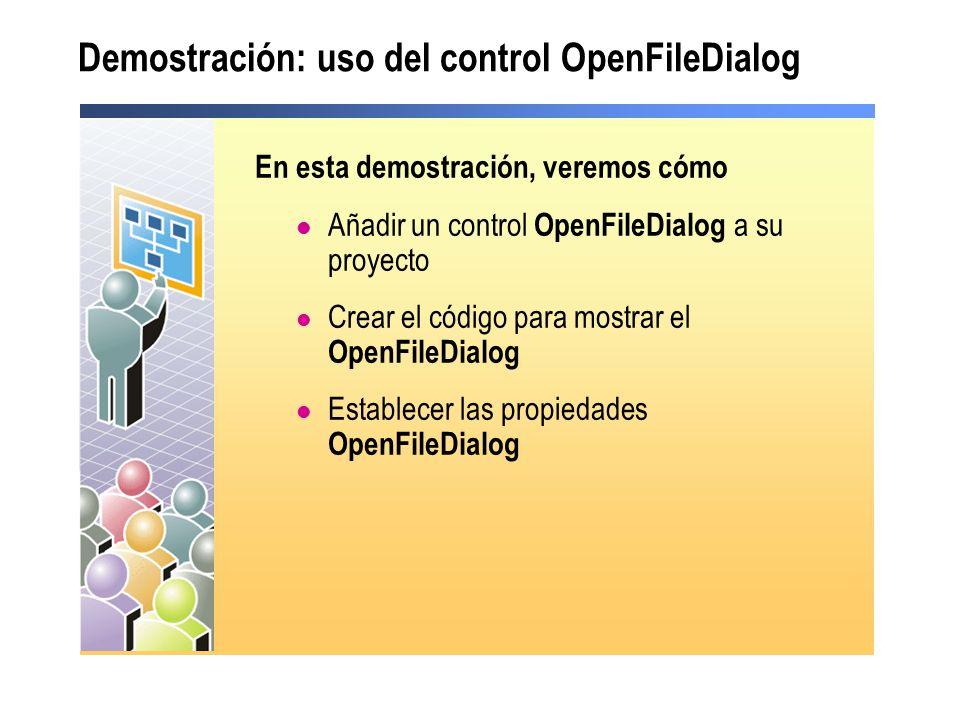 Demostración: uso del control OpenFileDialog