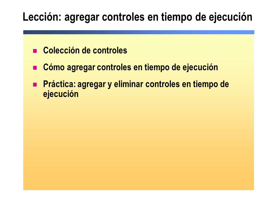 Lección: agregar controles en tiempo de ejecución