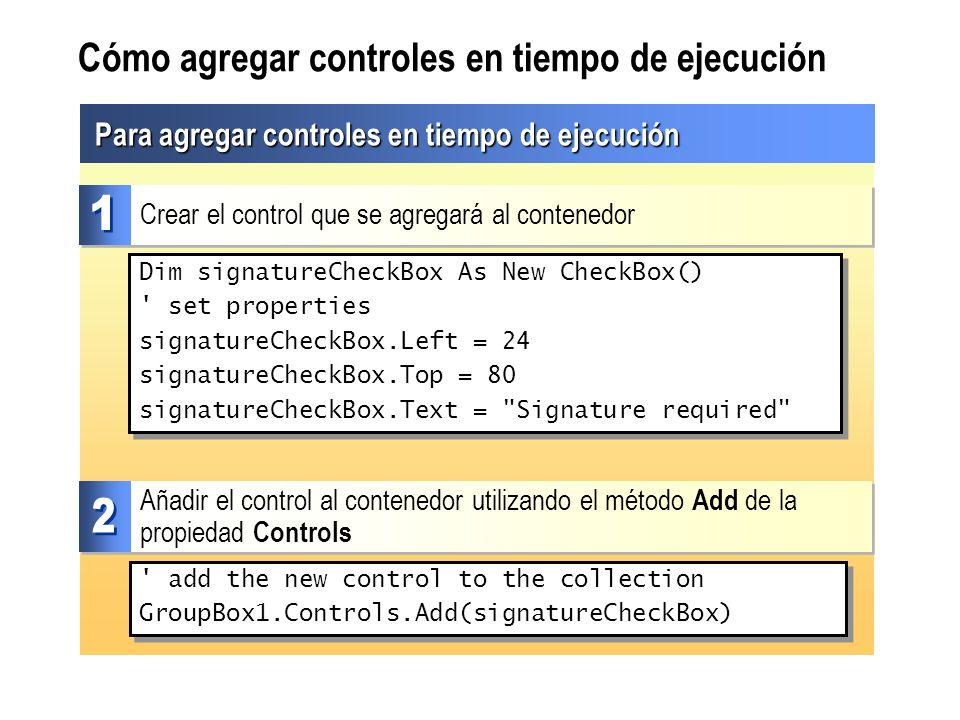 Cómo agregar controles en tiempo de ejecución