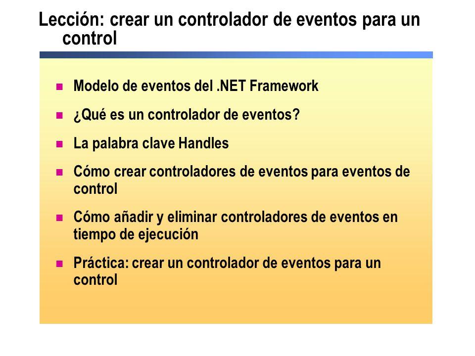 Lección: crear un controlador de eventos para un control