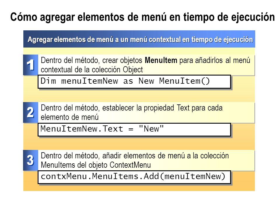 Cómo agregar elementos de menú en tiempo de ejecución