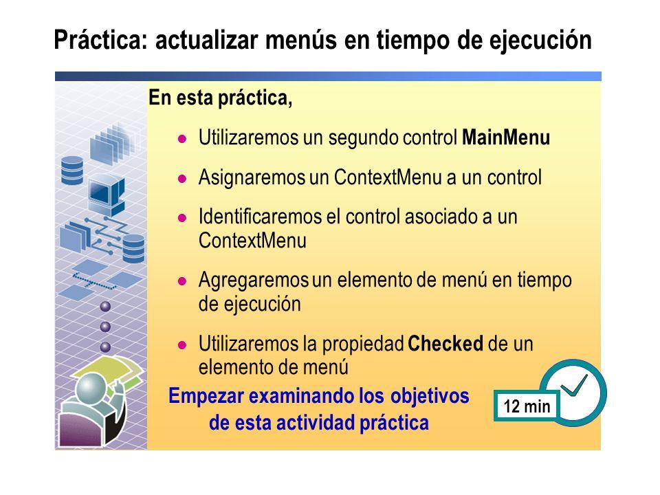 Práctica: actualizar menús en tiempo de ejecución