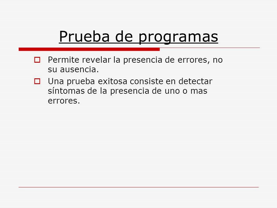Prueba de programas Permite revelar la presencia de errores, no su ausencia.