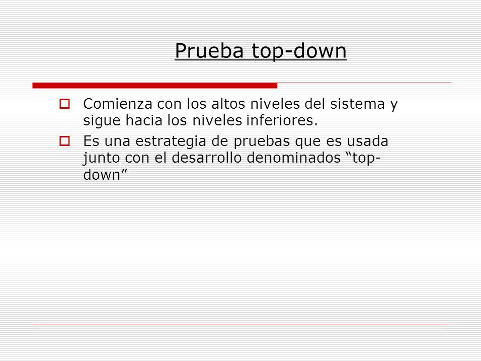 Prueba top-down Comienza con los altos niveles del sistema y sigue hacia los niveles inferiores.