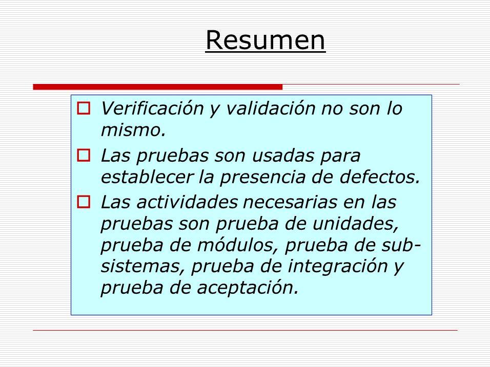 Resumen Verificación y validación no son lo mismo.