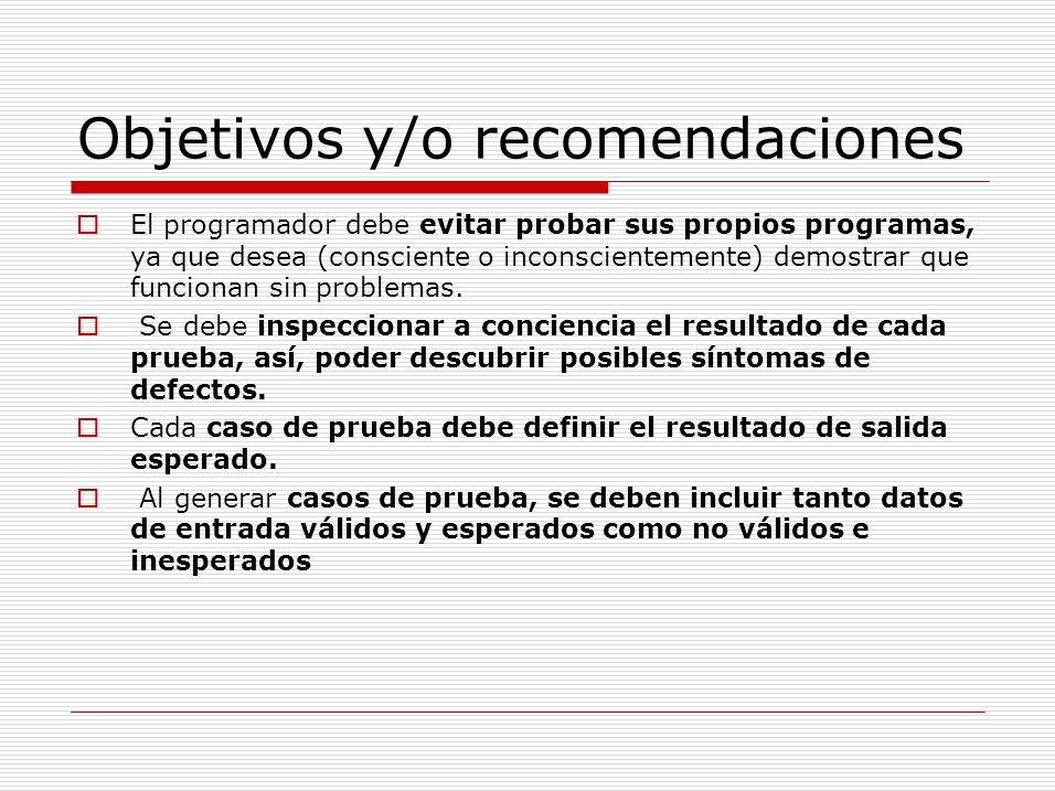 Objetivos y/o recomendaciones
