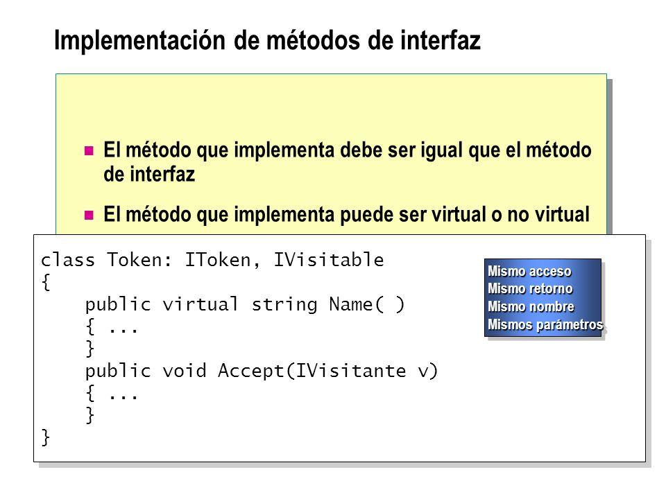 Implementación de métodos de interfaz