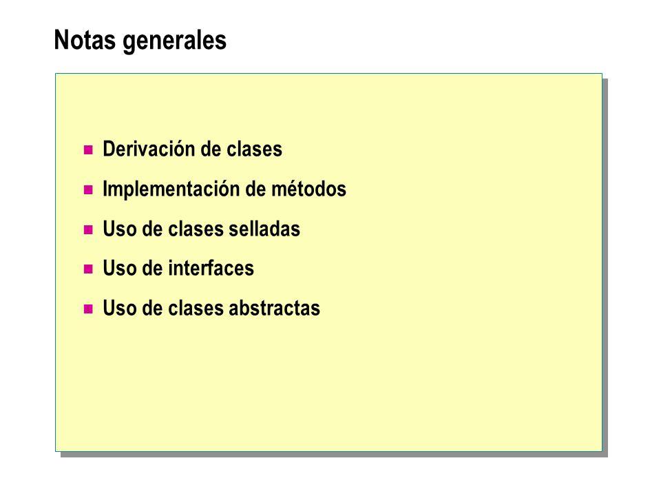 Notas generales Derivación de clases Implementación de métodos