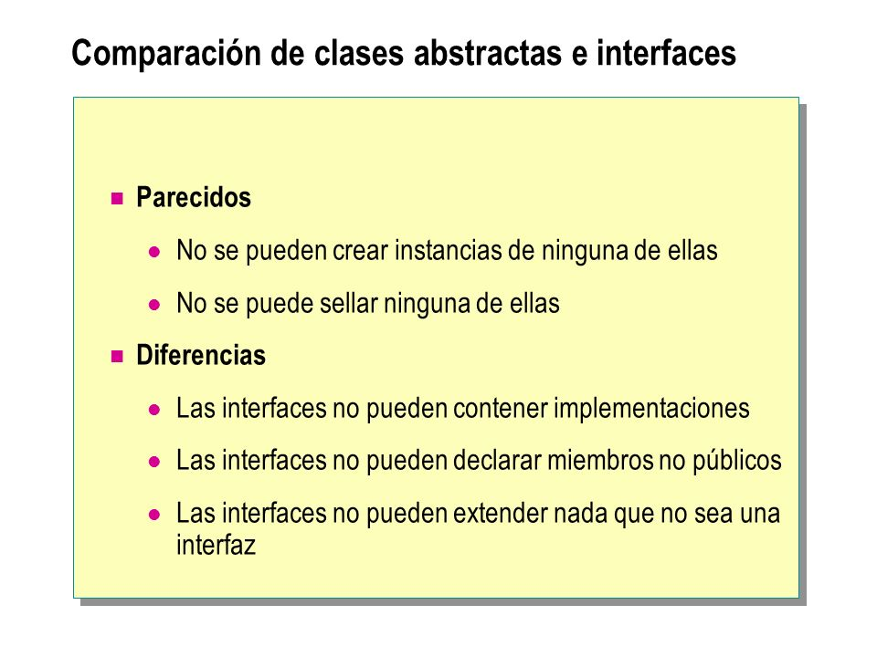 Comparación de clases abstractas e interfaces