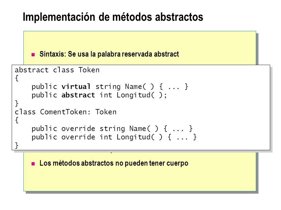 Implementación de métodos abstractos