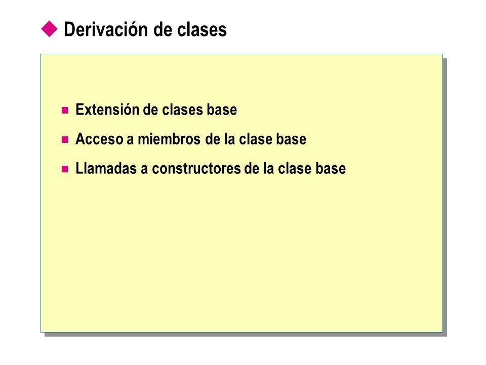 Derivación de clases Extensión de clases base