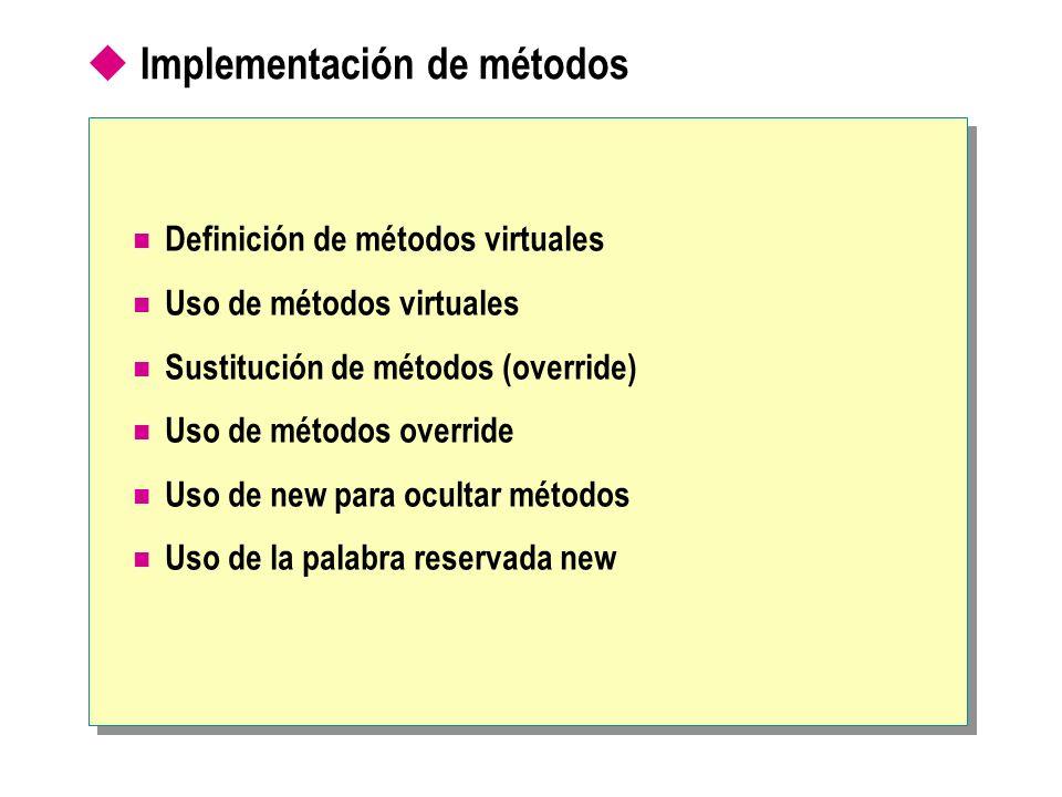 Implementación de métodos