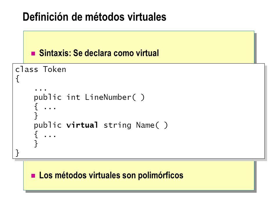 Definición de métodos virtuales
